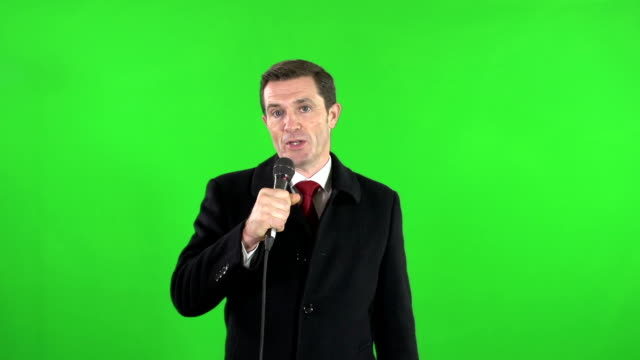 Live TV news reporter on location with Green Screen video