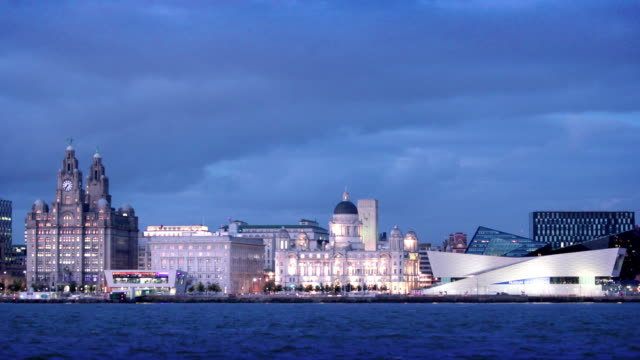 Liverpool Waterfront across River Mersey, England, UK video