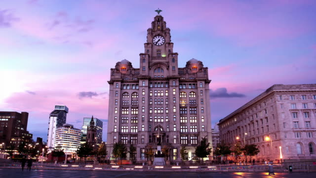 Liverpool's Liver Building at Dusk, England UK video