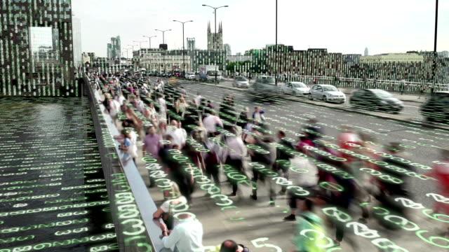 Wonen in de stad van een data matrix. video