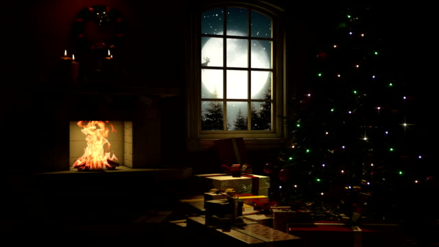 stockvideo's en b-roll-footage met living room at christmas eve - fireplace