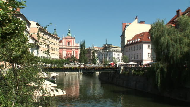 HD: Ljubljana City Center HD1080i: Wide view of the city center of Ljubljana,  the capital of Slovenia. Eastern Europe. Zoom in. eastern europe stock videos & royalty-free footage