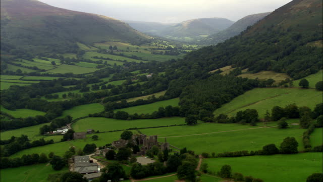 Llanthony Abbey  - Aerial View - Wales, Monmouthshire, Crucorney, United Kingdom video