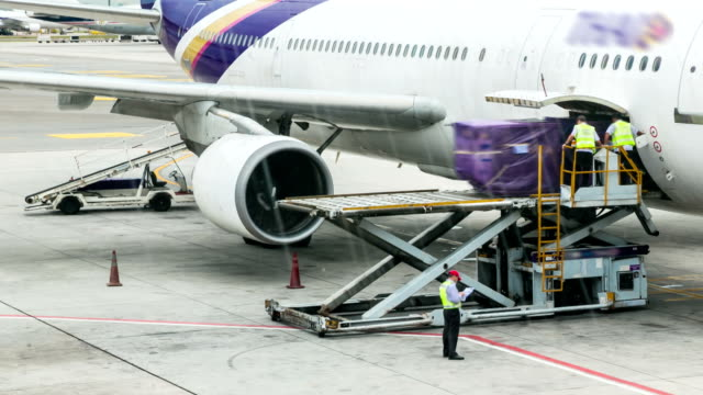 HD: Loading cargo to plane for air freight logistic background video