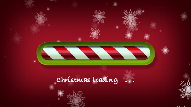 loading christmas. red and green web bar on dark red background with snowflakes - treedeo christmas stock videos & royalty-free footage