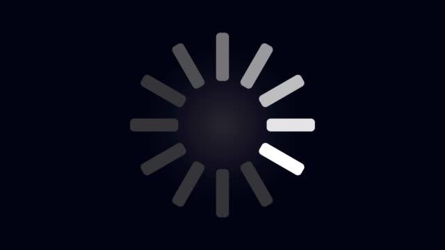 Loading circle icon on dark blue background animation