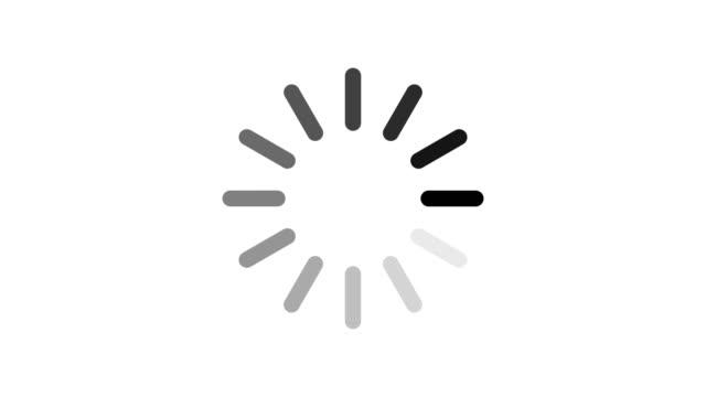 vídeos de stock e filmes b-roll de loading circle icon on white background. - carregar