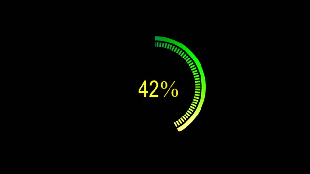 loading futuristic circle ring orb bar animation on black screen. Loading download 0-100% animation with optional luma matte. Alpha Luma Matte included. 4k video