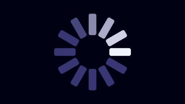 caricamento della presentazione grafica di stato sull'animazione di sfondo scuro - lentezza video stock e b–roll