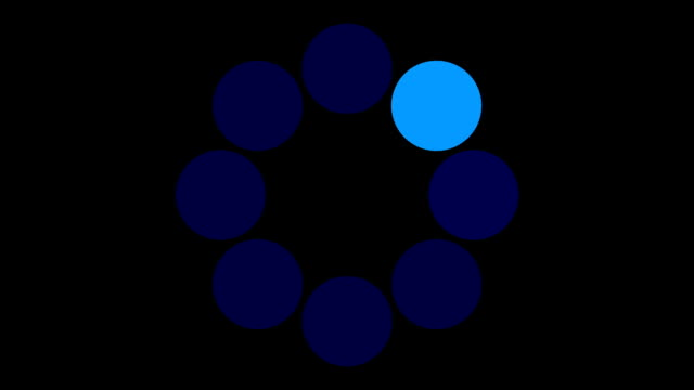 loading screen circular, blue on black background - 30fps loop - video texture, seamless animated element video