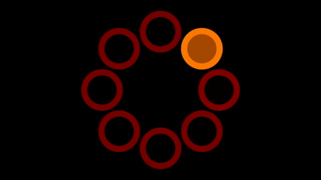 loading screen circular, fiery orange and red on black background - 30fps loop - video texture, seamless animated element video