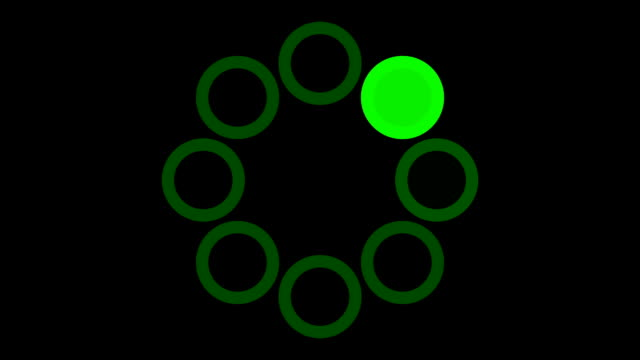 loading screen circular, green on black background - 30fps loop - video texture, seamless animated element video