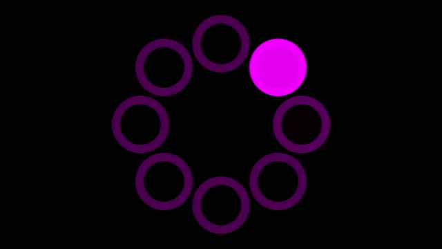 loading screen circular, purple on black background - 30fps loop - video texture, seamless animated element video