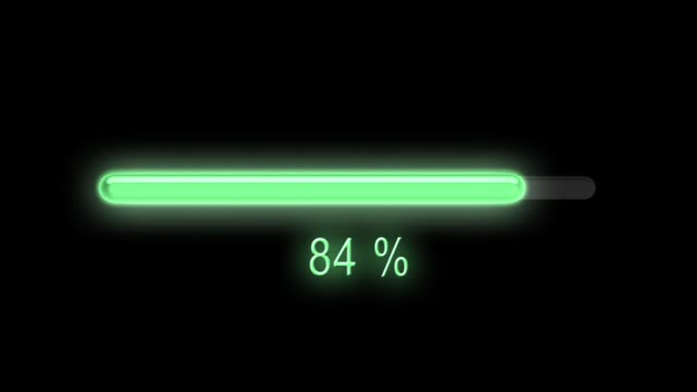 Loading Progress loading green neon bar loading from 0 to 100 percent and back and then from 0 to 50 and from 50 to 100. bar counter stock videos & royalty-free footage