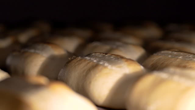 vídeos de stock e filmes b-roll de loaf of bread on the production line in the bakery. baked loaf of bread in the bakery, just out of the oven with a nice golden color. bread bakery food factory production with fresh products - carcaça