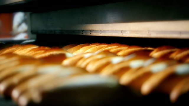 Loaf of bread on the production line in the bakery Loaf of bread on the production line in the bakery. Baked loaf of bread in the bakery, just out of the oven with a nice golden color. Bread bakery food factory production with fresh products. bun bread stock videos & royalty-free footage