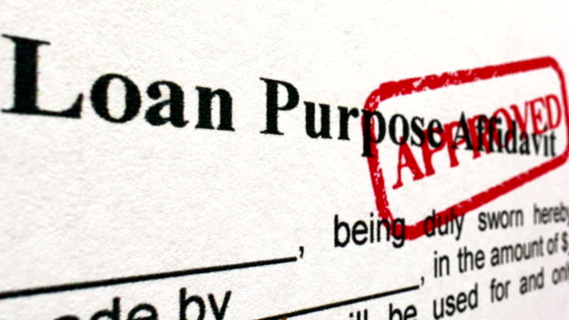 Loan purpose affidavit approved camera slide Loan purpose affidavit approved camera slide representing stock videos & royalty-free footage