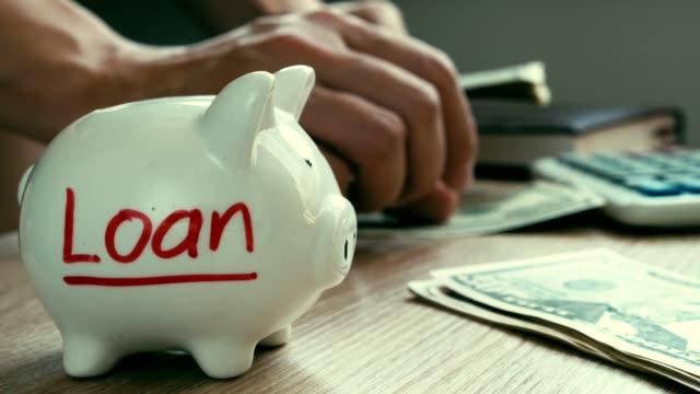 Loan written on a piggy bank. Hands are counting money. Loan written on a piggy bank. Hands are counting money. loan stock videos & royalty-free footage