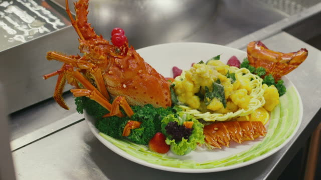 Lobster, seafood, food prepared, cooked by professional chef, cook video
