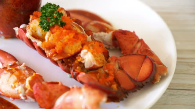 Lobster tail steak Lobster tail steak tail stock videos & royalty-free footage