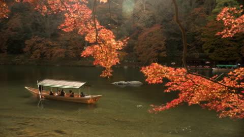 vidéos et rushes de bateau local dans la rivière katsura au milieu de la forêt d'automne feuille à arashiyama - japon