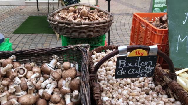 heimische pilze und spargel auf dem lebensmittelmarkt in saumur, frankreich - speisepilz pilz stock-videos und b-roll-filmmaterial