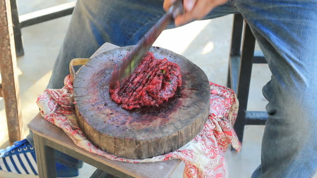 Local raw meat cooking in Asian style video