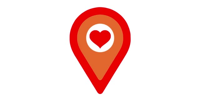 Location heart sign. Map pointer icon animation