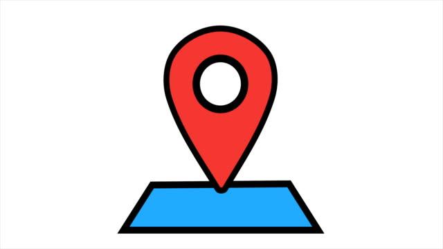 vídeos de stock, filmes e b-roll de ícone de localização 4k animação - loopable - pin