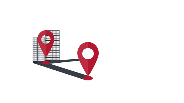 Location in the city. Animation of a tourist route. Placemark cartoon
