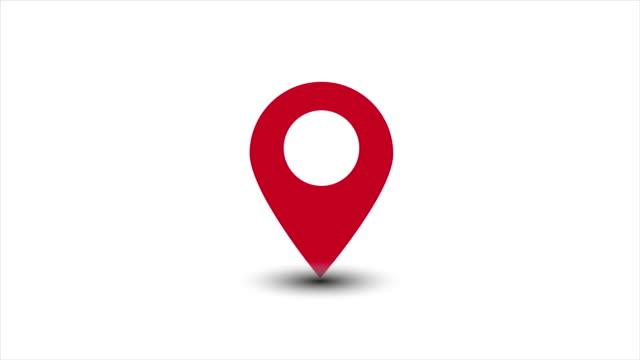 Location map geo pin cartoon animation