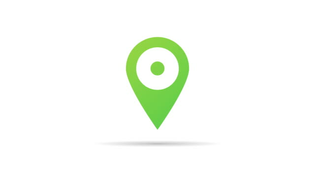 GPS location marker motion video in trendy flat style isolated on a white background