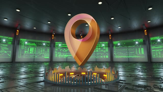 Location on map icon surrounded by data screens appears in the middle of hi-tech room - vídeo