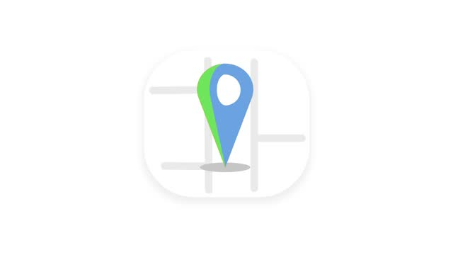 Location Pin icon. 4K video GPS movement of the pin showing the location on the map. Appearing pointer for a map. Sign and pin to indicate the route and location on the video maps.