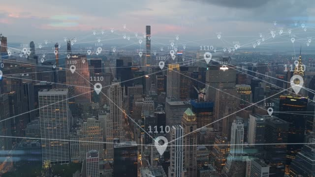 Location services of 5G smart city internet of things IOT AI network technology Conceptual render of location services of 5G smart city internet of things IOT AI network technology network server stock videos & royalty-free footage
