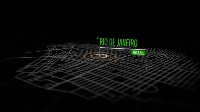 Locations Rio de Janeiro, Brazil Animation of marking a point  in the city of Rio de Janeiro, Brazil. Location of the city, large shopping center. Video in 4K with resolution of 3840x2160. cristo redentor stock videos & royalty-free footage