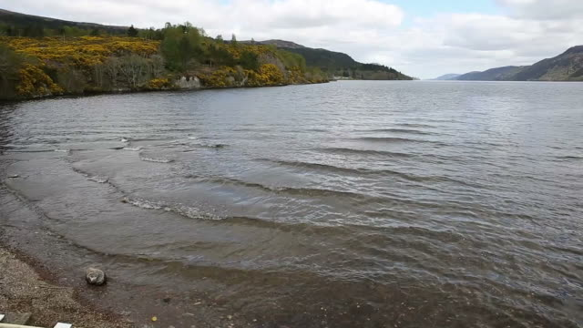 Loch ness Scotland uk popular tourist attraction Fort Augustus Scottish Highlands pan video