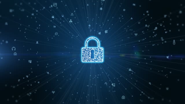 Lock Icon cyber security of digital data network protection. High speed connection data analysis. Technology data network conveying connectivity background concept. Lock Icon cyber security of digital data network protection. High speed connection data analysis. Technology data network conveying connectivity background concept. encryption stock videos & royalty-free footage
