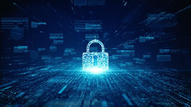 デジタルデータネットワーク保護のロックアイコンサイバーセキュリティ。高速接続データ解析。接続性の背景概念を伝達するテクノロジー・データ・ネットワーク。 - なりすまし犯罪点の映像素材/bロール