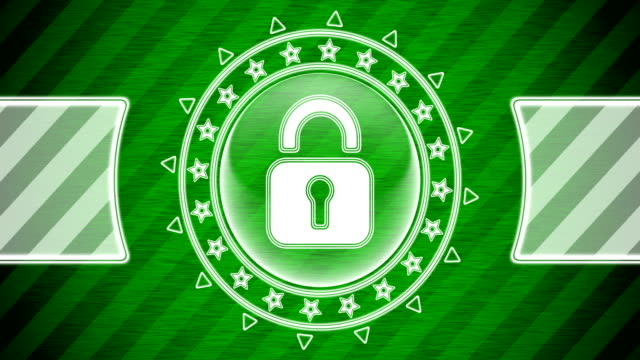 Lock icon in circle shape and green striped background. Illustration. Looping footage. website design stock videos & royalty-free footage