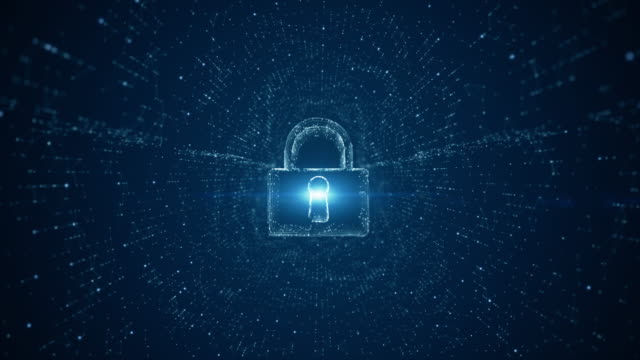 lock icon of cyber security. digital data network protection. high-speed connection data analysis. technology data binary code network conveying. future technology digital background concept. - замок средство безопасности стоковые видео и кадры b-roll