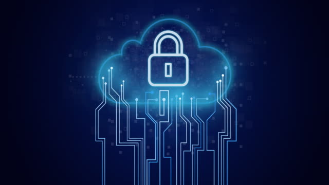Lock icon on circuit and cloud composition. Cloud computing or internet security concept: On blue black dark background, blue circuit lines are moving towards a cloud with padlock icon in the center. Safe network or digital world in future or now with cloud technology. antivirus software stock videos & royalty-free footage