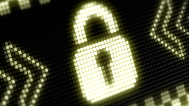 Lock icon The bright icon in a light board with big pixel. padlock stock videos & royalty-free footage
