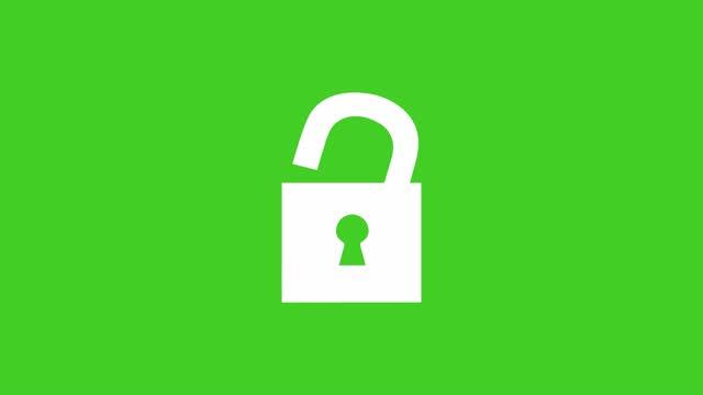 vidéos et rushes de icône de serrure - signe de cadenas blanc - animation de dessin animé déverrouillage d'animation sur un fond d'écran vert - serrure