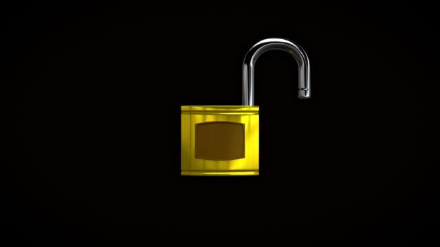 Lock, unlock animation, alpha channel Lock, unlock animation, alpha channel padlock stock videos & royalty-free footage