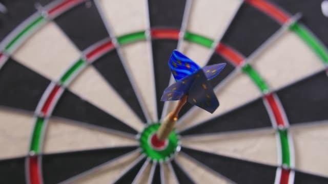 Lockdown Shot Of Dart Hitting Bullseye On Board video