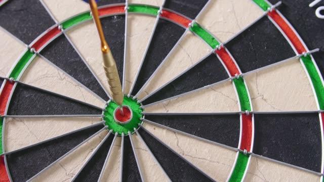 Lockdown Shot Of Dart Hitting Bullseye video