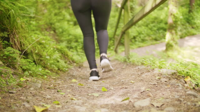 Lockdown Shot Of Sporty Woman Jogging On Slope In Forest Lockdown shot of fit woman jogging on dirt slope. Rear view of sporty female runner is exercising in forest. She is representing healthy lifestyle. 4K Resolution. lockdown viewpoint stock videos & royalty-free footage