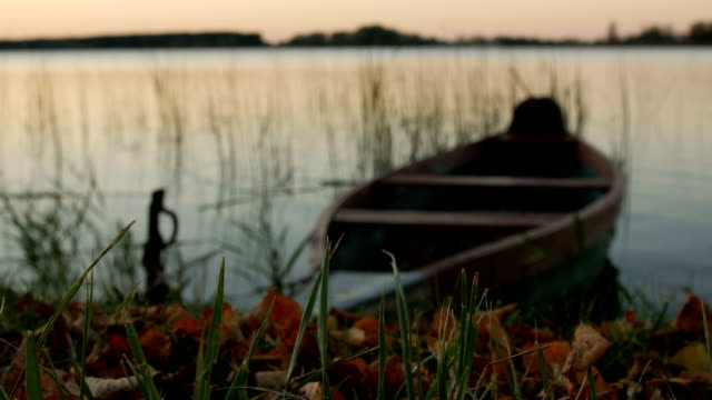 Locked boat by the lake video