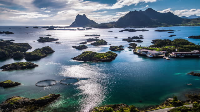 Lofoten Islands Coastline with small Archipelagos - Aerial footage, Norway video